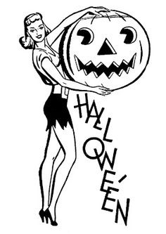 Retro Halloween Clip Art - Pretty Lady with Pumpkin - The Graphics Fairy