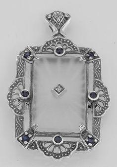 Art Deco Style Camphor Glass Sapphire / Diamond Pin / Brooch / P... Lot 20161732