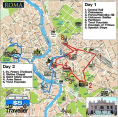 Map of Rome - How to see Rome in a hurry, our Two day sightseeing whirlwind!