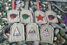 Christmas fabric tags by @cynefincrafts