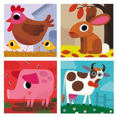 Vincent Mathy Editions DJECO   illustrations pour Jeu de cubes en bois