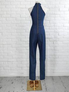 7eb3a1e4946 Halter Sleeveless Zipper Back Petite Jumpsuit
