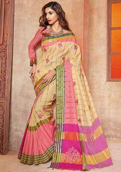 Beige and Pink Handloom Saree