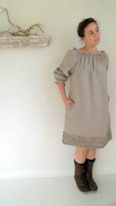 Natural Linen Ruffle Dress in Burlap colored flax  by bayousalvage, $145.00