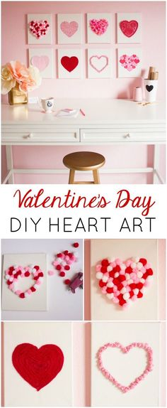 Valentine's Day DIY Canvas Heart Art - make with your crafting odds & ends!
