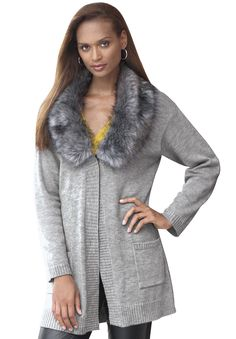 Plus Size Cardigan with Faux Fur Collar   Plus Size Sweaters & Cardigans   Jessica London