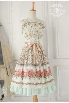 Ivory Vintage Sally's Garden Elegant Chiffon Classic Lolita Dress