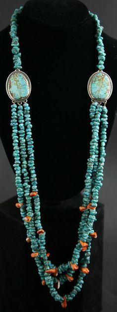 Santo Domingo Turquoise and Spiny Oyster Necklace Ava Marie Coriz (1948-2011)