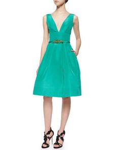 Fit-and-Flare Pouf Dress & Crystal Faille Skinny Belt by Oscar de la Renta at Neiman Marcus.