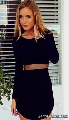 black bodycon dress with sleeves 2017-2018 » B2B Fashion