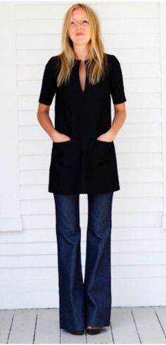 I like the crispness of the lines on this tunic!!  Length is great and I like the color and short sleeves