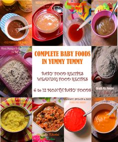 Complete Homemade Baby Food Recipes List..Starting from fruit & veg purees to homemade health mix powders..ALL IN ONE PLACE..  Recipe:  http://www.yummytummyaarthi.com/2014/08/homemade-baby-food-recipes-weaning.html