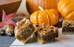 Chocolate Pecan Bars, the perfect dessert to take to Thanksgiving dinner, today at The Heritage Cook®