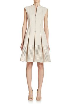 Akris Punto Front-Zip Perforated Fit & Flare Dress
