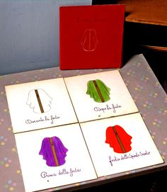 Here is a photo of Sofia Cavalletti and Gianna Gobbi's Liturgical Colors: The Chasubles nomenclature card pack from their atrium in Rome, Italy.
