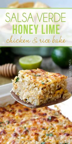 0 minute prep easy, cheesy Salsa Verde Honey Lime Chicken and Rice Bake bursting with cheesy sweet heat the whole family will go crazy for. Chicken Verde, Lime Chicken Recipes, Honey Lime Chicken, Cilantro Chicken, Cilantro Lime Rice, Cilantro Lime Chicken, Mexican Food Recipes, Orange Chicken, Chicken Meals