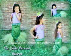 Homemade Little Mermaid Costume.  No real tutorial on the site, but I like the idea of this one too.  Maybe a mixture of the two patterns.