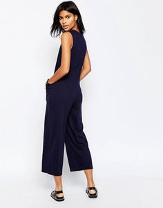 Asos Minimal Jumpsuit with V Neck and Wide Leg
