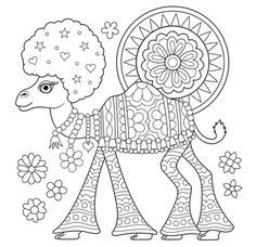 Free Hippie Camel Coloring Page by Thaneeya