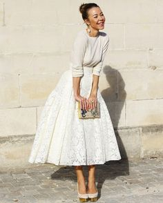 Ulyana Sergeenko white cashmere and lace pale grey pumps and Olympia Le Tan Charlotte's Web clutch gold accents