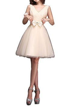 Vienna Bride Girls VNeck Princess Bridesmaid Dress Cocktail Homecoming Gown24WBeige *** Click image for more details.
