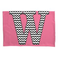 Black & White Chevron W Monogram Pillowcase
