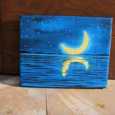 Shop Canvas Painting Ideas on Wanelo Simple Oil Painting, Easy Canvas Painting, Moon Painting, Simple Acrylic Paintings, Blue Painting, Easy Paintings, Diy Painting, Painting & Drawing, Canvas Art