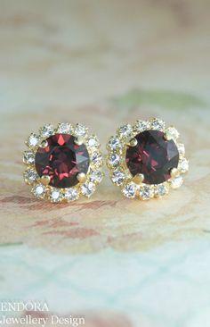 burgundy crystal earrings, marsala pantone color of the year 2015 | marsala wedding | www.endorajewellery.etsy.com