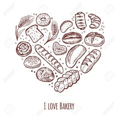 Illustration of Bakery collection, sketch for your design. Vector illustration vector art, clipart and stock vectors. Bakery Shop Design, Bakery Packaging, Hand Drawn Logo, Food Drawing, Packaging Design Inspiration, Magazine Design, Bistro Design, How To Draw Hands, Sketches
