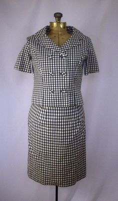 Checked Black and White Ladies Vintage Skirt and Jacket Suit Handmade by SoleilVintageShop on Etsy