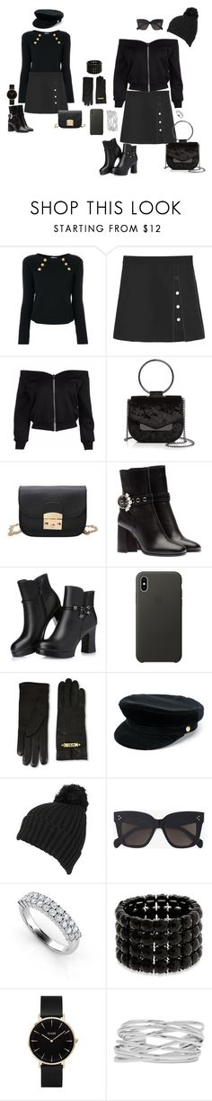 """""""#209 Button Embellished Cut Out Mini Skirt"""" by manonth on Polyvore featuring mode, RED Valentino, Nasty Gal, Apple, Moschino, Manokhi, Wilsons Leather, CÉLINE, Erica Lyons en CLUSE"""