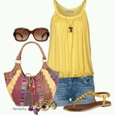 Summer short outfit with lemon yellow tank and colorful hobo bag