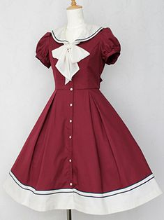 Navy Sailor Short-sleeved Cardigan Lolita Dress