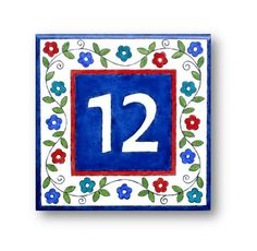 Address Numbers House Number Hand painted Tiles Flowers