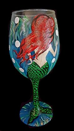 Mermaid painted on a Wine Glass