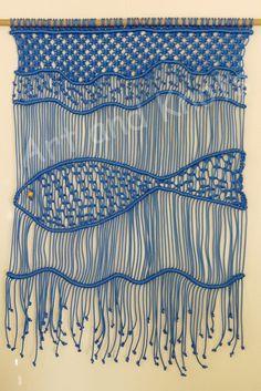 """Großer Makramee Wandbehang """"Ocean"""" - ArtandKnots Macrame Wall Hanging Patterns, Large Macrame Wall Hanging, Macrame Plant Hangers, Macrame Art, Macrame Design, Macrame Projects, Macrame Knots, Macrame Patterns, Weaving Art"""
