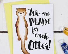 Made For Each Otter Card - Otter Valentine's card - Funny Valentine's Card - Card For Boyfriend - Girlfriend Card - Card for Otter Lover
