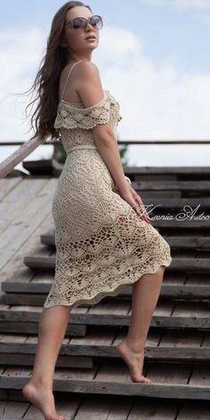 beige crochet dress by Kseniia Astro