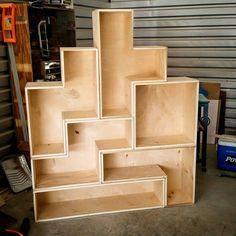 Lovely DIY Tetris Bookcase For The Gamer! Nice Design