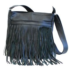 Front-Fringed Messenger Bag - Black Color