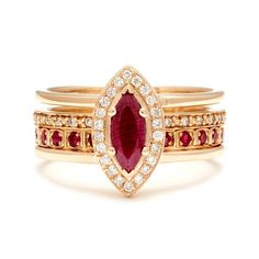 Encircled with delicate prong-set diamonds, the center of Attelage Suite No. 01 features a marquise cut ruby set into double banded harness ring. Whether enveloping one ceremonial band, or layered and stacked in a set, this cornerstone of the La Chasse collection is truly multi-functional piece, and can be ordered in a variety of Bespoke options. Details Attelage Ring: 8x3.44mm marquise cut ruby center, 0.11ctw white diamond halo, 14k yellow gold Hazeline Eternity Band: 1.5mm band width…