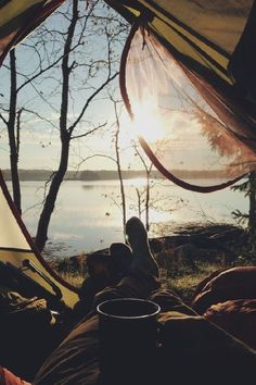 camping, tent, lake, water, bed with a view