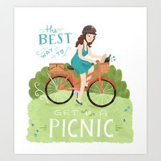 Bike to a Picnic Art Print by Ten Paces and Draw