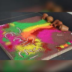 Colorful Rangoli Designs, Rangoli Designs Diwali, Diwali Rangoli, Beautiful Rangoli Designs, Rangoli Ideas, Diwali Craft, Board Decoration, Happy Holi, Indian Festivals