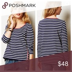 •Anthropologie• Lili's Closet Side Zip Striped Tee Worn once! In excellent condition. Very comfy. Does run a little large. Anthropologie Tops