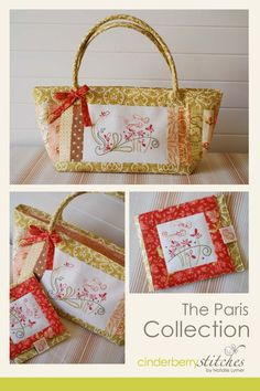 The Paris Collection - by Cinderberry Stitches - Bag Pattern Embroidery Applique, Embroidery Stitches, Embroidery Patterns, Machine Embroidery, Patchwork Bags, Quilted Bag, Purse Patterns, Block Patterns, Fabric Patch