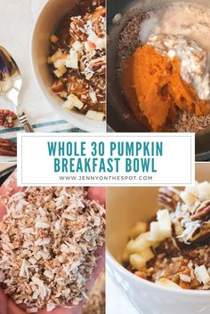 whole 30 recipes I am about to share with you one of my most very favorite recipes Warm Pumpkin Breakfast Bowl. Pumpkin Breakfast, Whole 30 Breakfast, Breakfast Bowls, Healthy Breakfast Recipes, Mexican Breakfast, Breakfast Sandwiches, Breakfast Pizza, Whole 30 Dessert, Breakfast Ideas