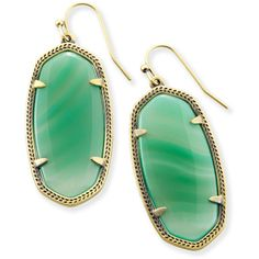 Kendra Scott Elle Drop Earrings in Green Banded Agate ($55) ❤ liked on Polyvore featuring jewelry, earrings, antique earrings, kendra scott, drop earrings, sparkle jewelry and sparkly earrings