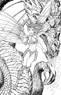 Soulfire Volume Rupps Comics Exclusive, in Chris Ehnot's Chris Ehnot's Art Comic Art Gallery Room Angel Coloring Pages, Adult Coloring Book Pages, Colouring Pages, Coloring Sheets, Coloring Books, Comic Book Girl, Dragon Images, Sword And Sorcery, Comic Character
