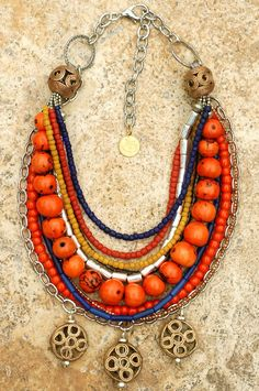 Exotic Designer Multi-Strand Beaded Brass and Silver Chain Necklace